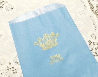 Blue Paper Bag, Gold Stamped,Little Prince and Crown, Fairytale, Royal Baby Shower, Gift Bags,  Favor Food Grade Bags set of 10