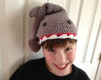 PATTERN Shark Hat Child Teen Adult Sizes Crochet Beginner Easy