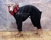 ONE Only size EXTRA SMALL shorter leg (see measurements) Italian Greyhound Black Jammies with Buffalo Check jersey lined Snood/Neck Warmer