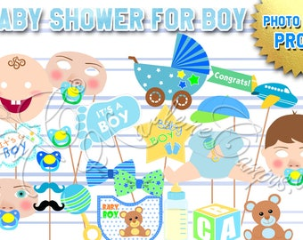 Baby Shower photo booth props, Baby Shower Props, Baby Boy, props, Photo Booth props set, Printable, INSTANT DOWNLOAD
