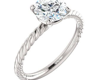 7mm Forever One Moissanite Colorless Solid 14K White Gold Engagement Ring Set   ST82737
