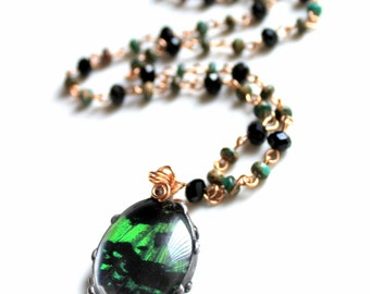 Green and Black Butterfly Necklace with Aqua Terra Jasper and Black Faceted Crystal, Brass Wired Gemstone, Madagascan Sunset Moth