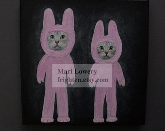 Mixed Media Collage on Canvas, Cat Art, Pink and Black Bunny Art, One of a Kind 8x8 Inch Unique Wall Decor