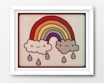 Rainbow Printable Art Print, Kawaii Baby Nursery Instant Download Illustration by Sleepy Cloud Studios