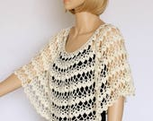 Off white Shawl  Cream cape Bridal shawl Crochet shawl Wedding wrap Bridal accessories Wedding shawls Crochet cover up