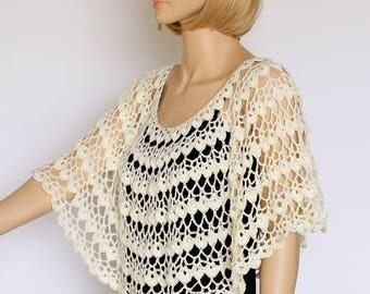 Off white Shawl  Cream cape Bridal shawl Crochet shawl Wedding wrap Bridal accessories Wedding shawls Crochet cover up