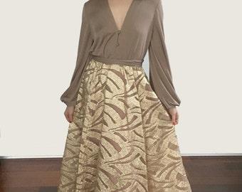 70's Lilli Diamond Beige/Gold Dress Sz S/M