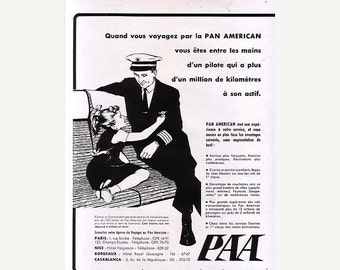 Vintage French Ad  Pan Am Airlines 1952