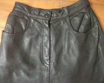 "classic vintage 1980s BLACK LEATHER SKIRT, pencil skirt, 72 cm,28"" waist"