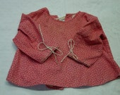 Antique Baby or Doll Garment c.1800's Double Pink Cotton Print Very Good Condition