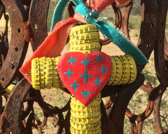 Bottle Cap Cross - Folk Art / Santa Fe - Christmas Ornament - Vintage Wool Serape Ribbon -  Original Cathy DeLeRee