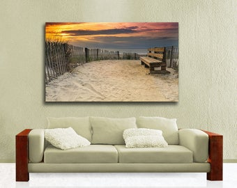 Extra Large Canvas Wrap, Summer Sunrise Photography from Bethany Beach Delaware Seascape Photography, Ready to Hang Wall Art, Brown, Orange