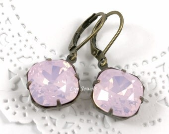 Pink Opal Earrings, Rose Water Opal Swarovski Crystal Cushion Cut Earrings, Vintage Inspired Antique Brass Rose Quartz Earrings