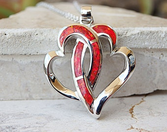 Womens Necklace, Sterling Silver Necklace, Gift For Mom, Ruby Red Heart Necklace, Mother Daughter Necklace, Two Hearts Necklace,Wedding,Love