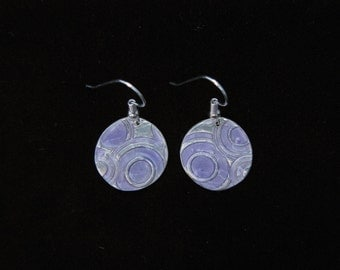 Round, silver dangle earrings with violet faux enameling