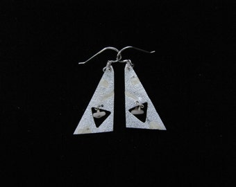 Triangle, silver dangle earrings with a coral bead and ivory colored faux enameling