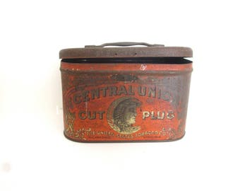 Antique central union tobacco tin, vintage tobacciana, Richmond Virginia