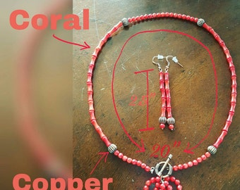 Red Coral and Copper Accents Necklace with Matching Earrings by AfterWork