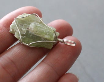 Green Kyanite Silver Wire Wrapped Pendant #7670