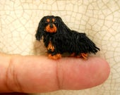Black Cavalier King Charles Spaniel - Tiny Crochet Miniature Dog Stuffed Animals - Made To Order