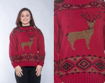 Reindeer Sweater LARGE Vintage Christmas Pullover Sweater Red & Tan Winter Vintage Eddie Bauer Knittted by Hand 16Z