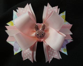 Pink Easter bunny bow, 4 inch with rhinestone bunny center