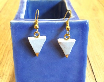 Porcelain and Real Gold Earrings