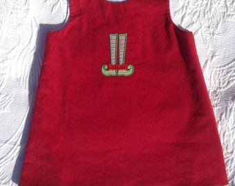 Red Corduroy Jumper, Made in the USA, Christmas Jumper, up to size 6, girls romper, girls jumper, classic jumper, a-line, Christmas