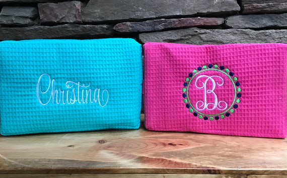 Personalized Large Cosmetic Bag Set of 3, Monogrammed Cosmetic Bag, Bridesmaids Gift, Set of 2, Large Cosmetic Bag, Make Up Bag Personalized