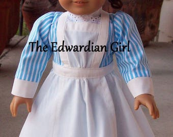 Two of a kind Edwardian nanny, early nurse. Blue and white, fits 18 inch play dolls such as American Girl, Springfield, OG. Made in USA