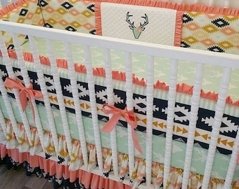 CRIB BEDDING SALE- Girl Crib Bedding- Aztec Baby Bedding Made To Order- Baby Bedding- Girl Deer Bedding- Peach and Mint