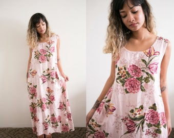Pink Floral Dress / Floral Linen Dress / Sleeveless Dress / 90s Dress / Long Summer Dress / Oversized Dahlia Maxi Boho Hippie Flower Print