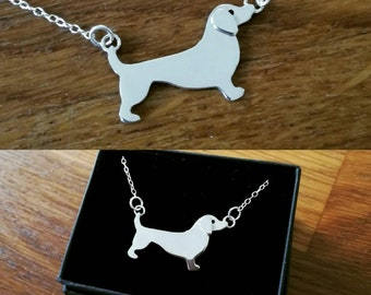 Handmade silver sausage dog, dachshund necklace
