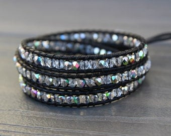 READY TO SHIP - Vitrail Faceted Czech Glass Beaded Triple Leather Wrap Bracelet with Black Leather Cord