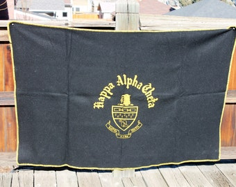 Vtg. Wool Womens Sorority Kappa Alpha Theta throw Blanket