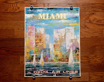 vintage 70a Delta Air Lines poster Miami Jack Laycox painting artwork skyline sailboat 1970 travel poster 0432-01087-94 28x22