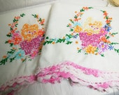 Kitten in Basket, Pillowcase Set, Vintage Hand Embroidery, Orange Pink Blue, Floral, Crochet Edge