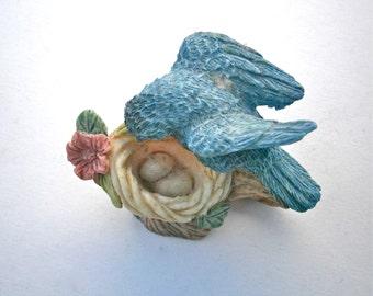 Vintage Blue Bird Nest Cup Miniature Figurine Baby Egg Ceramic Statue Pottery Fairy Garden Plant Terrarium Easter Stoneware Pink Floral Mama