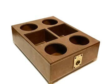 Vintage 1970s House of Goebel Italian wood and leather footed tray, a caddy for decanters, cruets, barware, made in Italy