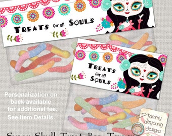Sugar Skull Birthday Goodie Bag Label, Sugar Skull Party Favors Printable, Girls Birthday treat bag topper, Day of the Dead candy loot bag