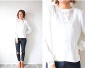 20% OFF BLACK FRIDAY Sale Vintage boho white blouse // boho top // summer lace cream top // modest lace blouse top // ivory blouse // long s
