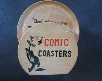 wood coasters comic coasters set of 8 different sayings vintage wooden coasters japan