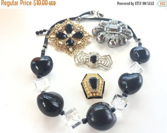 MOVING SALE Half Off Destash Craft Lot of Vintage Salvaged Black Rhinestone  and Glass Jewelry Parts and Pieces