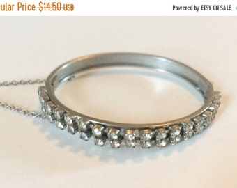 WINTER SALE Vintage Silver Tone Metal Clear  Rhinestone Hinged Bangle Bracelet