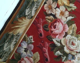 Vintage french needlepoint rug roses signed 'Masee Des Arts Decoratifis Paris R 91 24286