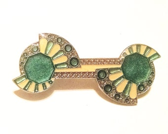 Art Deco Enamel Bar Pin Brooch Green Dark Off White Gold Enamel Vintage Jewelry Jewellery Accessory Gift Guide Women