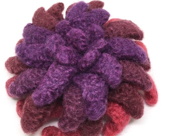 Felted Wool Flower brooch in shades of Purple and Reds Red Hat Lady