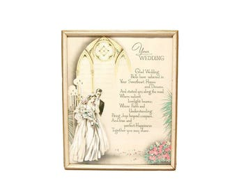 1940s Wedding Memento Framed Print Newlywed Gifts Midcentury Vintage Wedding Verse Your Wedding Gifts Buzza Craftacres 1940s Artwork