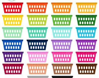 Rainbow Laundry Baskets Clipart Set
