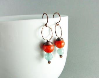 Wire Wrapped Earrings Red Jade Earrings Copper Earrings Wire Wrapped Jewelry Copper Wire Wrap Blue Quartzite Jade Earrings Boho Earrings